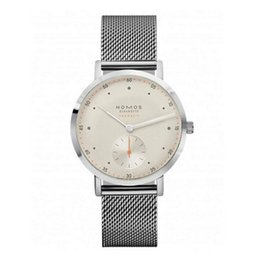 Wholesale Black Atom - Fashion NOMOS Atom Clock Top Luxury brand Famous Watches men Stainless Steel Mesh strap band Quartz-watch thin Dial Clock man