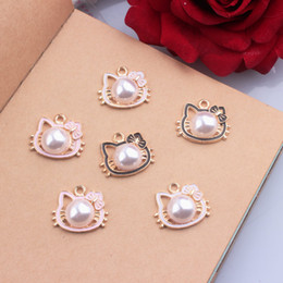 Wholesale Pearl 24mm - Free Shipping 10pcs lot DIY Jewelry Accessories Cute Cat Head With Pearl Enamel Metal Charm Pendant For Necklace Bracelet 20*24mm