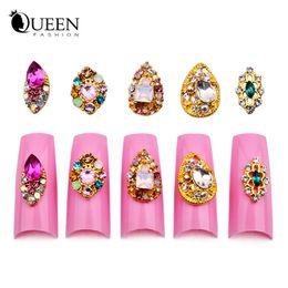 Wholesale Diy Nail Jewelry Accessories - Wholesale-10pcs New Teardrop Nail Rhinestones Gems 3d Gold Alloy Strass Nail Accessories DIY Charm Nail Jewelry Decorations