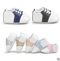 Wholesale Contrast Ties - Newborn Baby Shoes First Walkers Infant Toddler contrast color Baby boys Girls PU leather Soft bottom footwear kids toddler shoes T3468