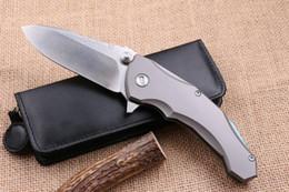 Wholesale Paring Knife Kitchen Tool - Praetorian 2 ball bearing Flipper folding knife D2 Titanium handle camping hunting fruit paring kitchen knife EDC tools