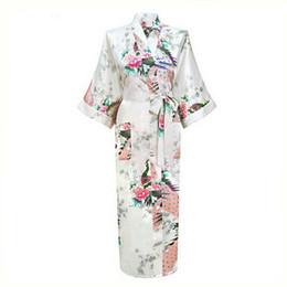 Wholesale Silk Lingerie Kimono - Wholesale- White Sexy Flower Yukata Kimono Bath Gown Women Silk Long Lingerie V-Neck Robes Sleepwear Sauna Costume Plus Size S-XXXL NR069