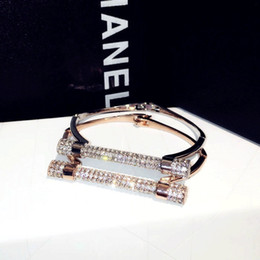 Wholesale High Quality Gold Plated Bracelets - hot sale high quality stainless steel jewelry fashion 18K rose gold Luxury glittering zircon diamond bolt bangle bracelet