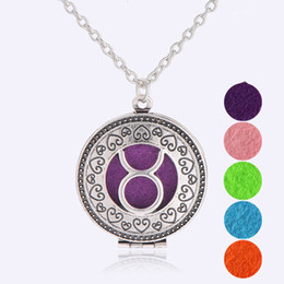 Wholesale Zodiac Sign Wholesale - Aromatherapy Locket Essential Oil Diffuser Necklaces 12 Zodiac Signs Filligree Locket Pendant Necklacs Antique Silver Bronze Censer Jewelry