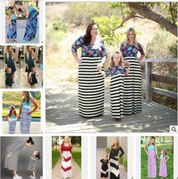 Wholesale Mother Daughter Parent - Mother Daughter Clothes Family Set Matching Dresses Striped Printed Dress Long Sleeve Kids Parent Child Outfits Free Shipping