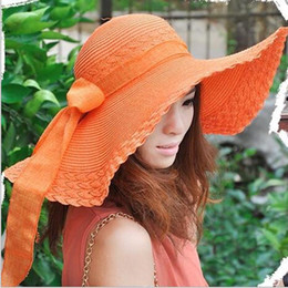 Wholesale Butterfly Straw Hats - Wholesale- Wholesale And Retail Fashion Women Wide Large Brim Floppy Summer Beach Straw Cap bow Butterfly Bow Sunscreen Sun Hat