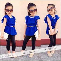 Wholesale New Trendy Clothes - Wholesale- 2016 fashion girls clothing set 2-piece set: blue top+pants New arrived trendy girl suit DS25