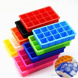 Wholesale Rubber Candy Molds - Silicone Ice Cube Tray Molds Candy Mold Cake Chocolate Mold 15 Cavity Square Baking Mold Cake Pan Muffin wn080