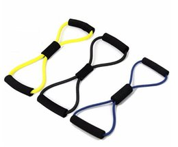Wholesale fitness resistance tubes - New Arrive Resistance Training Bands Tube Workout Exercise for Yoga 8 Type Fashion Body Building Fitness Equipment Tool