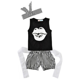 Wholesale Three Piece Vest For Kids - 2017 Kids Girls Lips Clothing Baby 3 Pieces Sets Children Summer Suits Headband Vest Striped Shorts For 6-18M