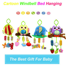 Wholesale Animal Sounds Music - Wholesale- Cartoon Elephant  Owl Fish Bird Soft Rattles Bed Crib Stroller Music Hanging Bell Toy sound toys With BB Sound D003