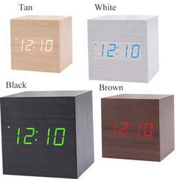 Wholesale Wooden Desk Calendars - USB AAA Powered Cube LED Digital Alarm Clock Square Modern Wood Clock Thermometer Temp Date Display Calendars Desk Table Clock