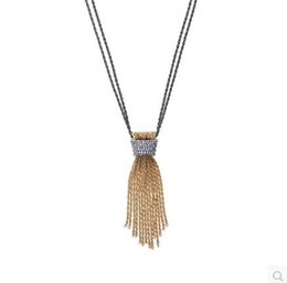 Wholesale Long Tassel Gold Necklace - Fashion New Design Colares Longos Accessories For Women Vintage Double Layer Gold Tassel Long Pendant Necklace