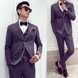 Wholesale Designers White Groom Wedding Suits - Wholesale- Black Grey with White Contrast Piping Dinner Suit New Designer Suit Costume Homme Marriage Wedding Groom Suit Male Slim Fit