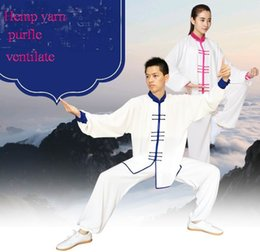 Wholesale Kung Fu Clothing Women - Summer Hemp yarn tai chi women Chinese wind men tai chi clothing martial arts suit Chinese practice kung fu suit