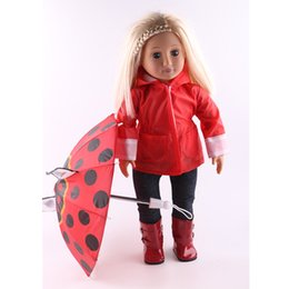 Wholesale Cloth Umbrella Red - Cute Waterproof Cloth Red Polka Dots Umbrella for 18'' American Girl Our Generation Dolls Dollhouse Decor Dolls Accessories