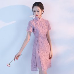 Wholesale Traditional Chinese Qipao Dresses - Modern Chinese Traditional Wedding Dress Vintage Improved Chirpaur Lace Short Qipao Sexy Cheongsam Evening Dresses Charming Slim Skirt
