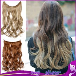 """Wholesale Long One Piece Hair Extension - Wholesale-12 Color 18"""" No Clips Ombre Grey Hair Long Wavy Synthetic Hair One Piece Fish Line Hair Extension Women Synthetic Hair Extension"""