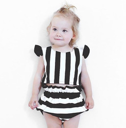 Wholesale Stripes Long Sleeves Outfits - Baby girl clothing Set 2017 New Stripe Ruffle Sleeve Tops+Striped PP pants Shorts Summer Toddler Outfits Infant 2pcs Sets C031