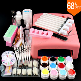 Wholesale nail polish cleanser - Wholesale- Nail Art Pro DIY Full Set JT18 Led Soak Off Uv Gel Polish Manicure File Topcoat Cleanser 36W Curing Lamp Kit Set