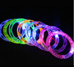 Wholesale Silicone Bracelet Light - LED Bracelets Glitter Glow Flash Light Sticks Light up Flashing Bracelets Blinking Spike Bracelets Disco Bar Party decoration