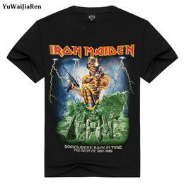 Wholesale Iron Man Anime - Wholesale- YuWaiJiaRen Mens T Shirts Fashion Summer Iron Maiden Skull Print Heavy Metal Rock Hip Hop Punk Swag Hipster Tee Shirts Anime
