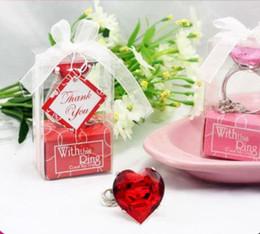 Wholesale Diamond Key Chain Crystal - Wedding favor Sparkling Crystal Heart Diamond Shape Keyring Chain Key Buckle Xmas Bridal Shower Birthday Hen Party Valentines Day Gift