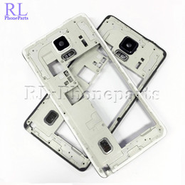 2019 cámara de la casa blanca 10 unids / lote blanco negro para Samsung Galaxy Note 4 N910F N910A N910T Bezel Plate Middle Frame Housing por zumbador lente de la cámara cámara de la casa blanca baratos