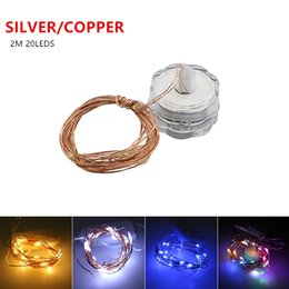 Wholesale White Led Button - Micro Led Fairy Lights CR2032 Button Battery Operated 2M 20 LEDS Flower Copper LED String Light for Xmas Wedding Decoration