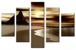 Wholesale Sunrise Oil Painting - Free Shipping ,Lots Wholesale ,wu186#,Handicrafts Modern Abstract 5 Panel Combination Art Oil Painting On Canvas:Seascape sunrise on sea
