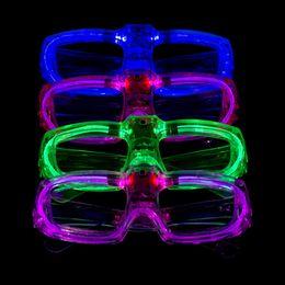 Wholesale Light Up Glasses Wholesale - Luminous Glasses Fashion Cold Light Glint Plastic Spectacles LED Light Up Flash Party Eyeglass Factory Direct Sale 2 8ey B