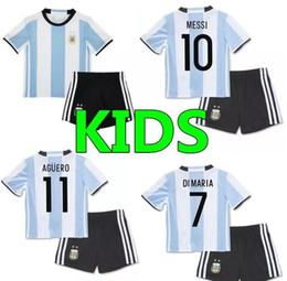 Wholesale Argentina Football Shirt Soccer - In stock A+++2016 Argentina kids Soccer Jerseys 16 17 Home White MESSI Argentine kids Football Shirt DI MARIA AGUERO KUN AGUERO LAVEZZI jers