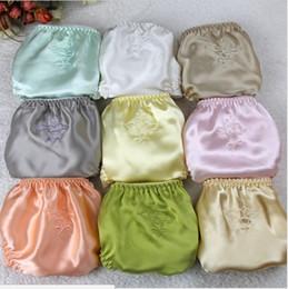 Wholesale Trigonometric Panties - 6pcs lot Mulberry silk panties Free size female trigonometric embroidered panties double layer silk briefs random sent
