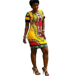 Wholesale Bohemian Style Clothing For Women - African Dresses African Women Clothing Dress for New Polyester Sexy Tight Folk Style Printing Slim Package Hip