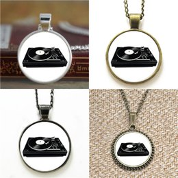 Wholesale Necklace Player - 10pcs Vintage Record Player Music Necklace keyring bookmark cufflink earring bracelet