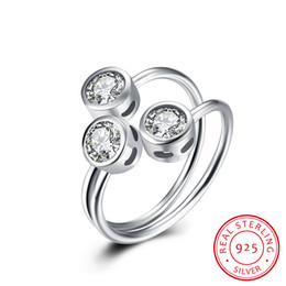 Wholesale Three Stone Channel White Plated - New 100% Real 925 Sterling Silver Rings Fine Jewelry Round Open Rings Inlaid Zircon Fashion for Women Lover Beauty Christmas Gifts Wholesale