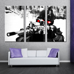 Wholesale Military Art Prints - 3 Picture Combination Wall Art Painting Sniper Aim Military Pictures Prints On Canvas Military The Picture For Home Modern Decor