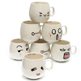 Wholesale White Porcelain Tea Cups - 2017 New 300ml Water Mug 7 Kinds Lovely Cute Cartoon White Pottery Ceramic Cup Cute Face Mug Tea Coffee Milk Cup Kids Gift
