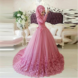 Wholesale Hijab Bridal Dresses Islamic - Vintage Arabic Muslim Wedding Dresses 2017 Turkish Gelinlik Lace Applique Ball Gown Islamic Bridal Dresses Hijab Long Sleeve Wedding Gowns