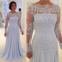 column bateau dress Promo Codes - Women Wear Mother Prom Dress Lace Appliques Sheer Neckline Long Sleeves Evening Dress Sexy Chiffon Sheath Formal Party Gowns
