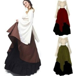 Wholesale Costumes Carnival Medieval - Women Medieval Dress Renaissance Red Vintage Style Off Shoulder Dress Women Cosplay Dresses Retro Long Medieval Dress Gown