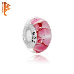 Wholesale Diy Glass Bangles - BELAWANG Wholesale Top Quality Bubble Pink Murano Glass Beads Big Hole Beads Fit Pandora 925 Silver Charm Bracelet&Bangle DIY Jewelry Making