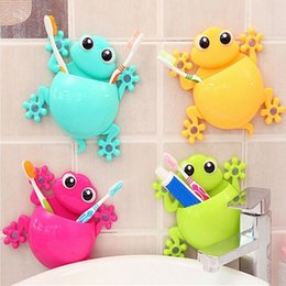 Wholesale Cup Holder Design - Wholesale- 1pc Bathroom Accessories Cute Cartoon Gecko Design Toothbrush Holder Suction Organizer Holder Cup Wall Mount Sucker YX#