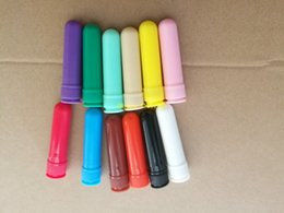 Wholesale Fast Screen Printing - 500sets lot Fast shipping 12 colors Blank Nasal Inhaler Sticks, Plastic Blank Aroma Nasal Inhalers for DIY essential oil