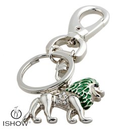 Wholesale Lion Rings Women - 4 Colors Fashion lion pendants keychain best friends gifts White Crystal key Rings jewelry Car keychain
