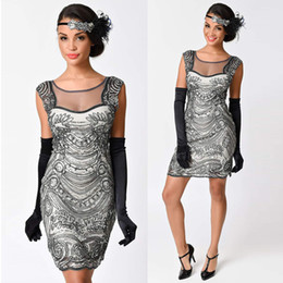 Wholesale Sequins Beaded Dresses Night - Sexy Club Mesh Dress O Neck Beaded Sequin Art Flapper Dress Women Summer 1920s Vintage Great Gatsby Party Dresses