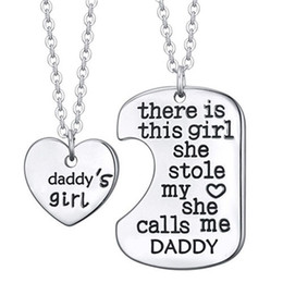 Wholesale Man Steal - Wholesale- 2PCS There is this girl she stole my heart DADDY Dad Papa Daughter Heart Pendant Necklace Father Girl Gift Men Jewelry Choker