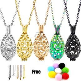 Wholesale locket necklaces for women - Water Drop Heart Love Necklace Hollow Out Aromatherapy Essential Oil Locket Pendant Necklaces For Women