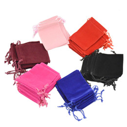 Wholesale Wholesale Small Velvet Bags - 2017 Velvet Drawstring Gift Bags Small Jewelry Pouches Christmas Wedding Favor holder Custom Printed logo Pink 7x9cm 50pcs  lot Free Shippin