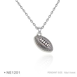 Wholesale Wholesale For Football Helmets - Antique Silver Plated I Heart Football Ball Rugby Helmet Charm Cheerleaders pendants Chain Necklaces For Women Men Platinum Metal Necklaces